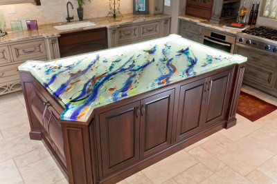 The Newest Addition To The ThinkGlass Countertop Collection Is An  Island Inspired Glass Top That ...